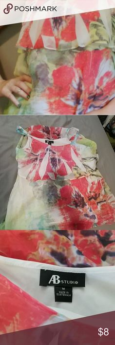 👑 6 FOR $25 AB Studio floral medium tank, adjustable spaghetti straps, fully lined  6 items for $25. Just put six items in your bundle and send me an offer for $25.  30% off a bundle of three or more items Everything is negotiable Smoke free home Pet free home All items deserve a 2nd chance at happiness Currently not trading AB Studio Tops Tank Tops