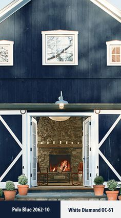 Make your exterior pop with a dark paint color like Polo Blue 2062-10 set against White Diamond OC-61 trim. Visit our site for more color inspiration.