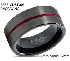 GUNMETAL Tungsten Ring Black Red Wedding Band by BellyssaJewelry