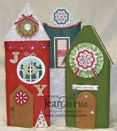 "Stampin' Up! Christmas Village Houses with lots of Bling ""Sweet Season"", Welcome Christmas"""