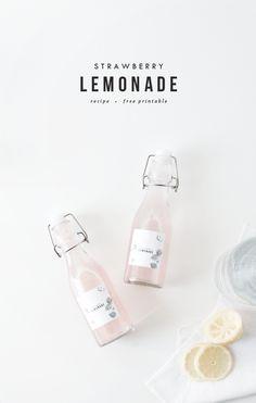 strawberry lemonade + printable labels | oh so pretty