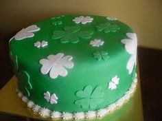 Beautiful white and green shamrock cake.