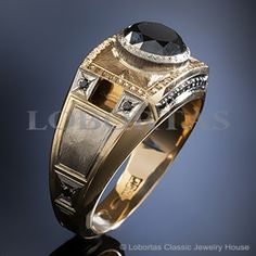 Gold diamond ring for man with 1.76 ct. black diamond :: Men's Jewelry & Jewels :: The Black Prince
