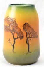 Ipsen P&E Pottery Vase, 1900's Landscape Vase Denmark #360 X artist initial N