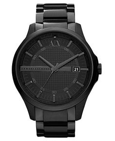 A|X Armani Exchange Watch, Men's Black Ion Plated Stainless Steel Bracelet 46mm AX2104 - All Watches - Jewelry & Watches - Macy's......would definitely look good on my man :)