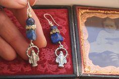 Holy medal earrings Assemblage earrings Religious gift Royal Jewelry, Vintage Jewelry, Handmade Jewelry, Jewellery, Religious Gifts, Religious Jewelry, Lapis Lazuli Earrings, Medieval Jewelry, Unusual Jewelry
