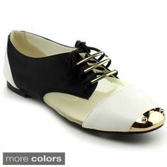 Bumper Women's 'Jolie-06' Colorblocked Mixed Media Oxford Shoes ...