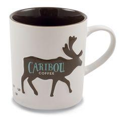 Caribou Coffee Ceramic Mug- Caribou Hoof Print 16oz.  Heavy duty ceramic Caribou Coffee mug with raised Caribou logo and hoof prints that run along the bottom to the back of the mug. Matte white outside and shiny brown inside.