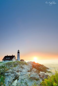 Would love to visit all the light houses Sunrise Cape Elizabeth Maine   Portland Head Light....I loved visiting this one!! JBC