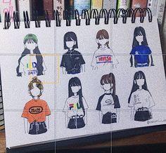 나는이(naeun0816)님의 스타일 | 이번 여름에 입으면 이쁜 반팔티 모음✔️💙 ɪɴsᴛᴀ @ ɴᴀɴᴜɴɪ_ɪ_ᴀᴍ 무단 콜렉 금지 ❌❌ . . Aesthetic Drawing, Aesthetic Anime, Art Sketches, Art Drawings, Model Sketch, Cute Art Styles, Learn Art, Boy Art, Anime Art Girl