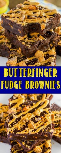 Homemade Butterfinger Fudge Brownies are a rich, fudgy treat always met with rave reviews. An easy dessert perfect for chocolate and peanut butter lovers! #butterfinger #brownies #chocolate #dessert via @BackForSeconds