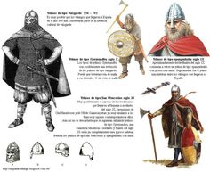 Type helmets used by the Vikings in their attacks against Spain since 844 (9th century first attack) to 1045 (11th century, last attack).