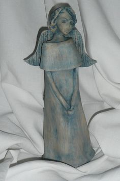 Pottery Angels, Paper Clay Art, Advent, Ms, Angeles, Sculpture, Statue, Fine Art, Group