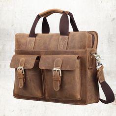 """Handmade Vintage Leather Briefcase / Leather Messenger Bag / Leather Satchel / 11"""" 13"""" MacBook 12"""" 13"""" Laptop Bag #n07B"""