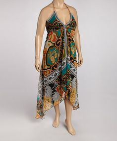 Another great find on #zulily! Turquoise & Yellow Abstract Handkerchief Dress - Plus #zulilyfinds