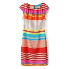 Striped Sleeveless Zippered Slim Dress | pariscoming