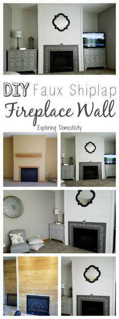 DIY Faux Shiplap Fireplace Wall and living room before and after   #livingroomdecor   #livingroom   #fireplace   #shiplap   #farmhouse   #DIYHomeDecor   #farmhousedecor   #homedecorideas
