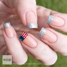 4th of July Glitter French   #nail #nails #nailart