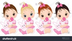 Illustration of Vector cute baby girls with toy bunnies. Vector baby girls with various hair colors. Baby girls vector illustration vector art, clipart and stock vectors.