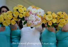 wedding photography yellow flower bouquet country chic bride flower bouquet blue bridesmaid dresses