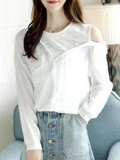 Shop Blouses & Shirts - White Long Sleeve Plain Blouses & Shirt online. Discover unique designers fashion at PopJuLia.com.