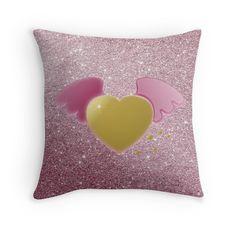 #GoldHeart #PinkAngelWings #ThrowPillow by #MoonDreamsMusic #ValentinesDayDecor