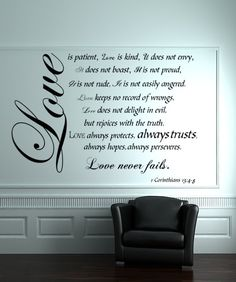 Love is Patient Love is Kind wall decal, 1 Corinthians, Bible Verse Wall Decals, Small, 1 Corinthians religious wall decals Wall Decals For Bedroom, Nursery Wall Decals, Vinyl Wall Decals, Wall Stickers, Bedroom Decor, Prayer Room, Love Is Patient, Spiritual Quotes, Bible Verses
