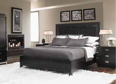 Contemporary Bedroom set. Grey/white and black room - I'd probably throw in a splash of colour with cushions