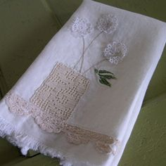 Crocheted Vase of Vintage Tatted Flowers TEA TOWEL