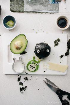 avocado totoro soot sprite onigiri - www.iamafoodblog.com #totoroweek #onigiri #avocado #totoro