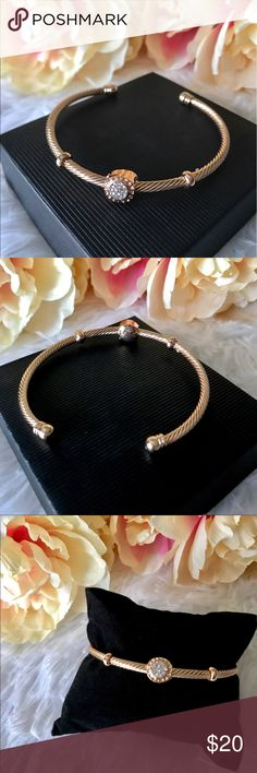 ✨New! Pavé Cable Bracelet Fabulous Open Design Pave Cable Bracelet! Sturdy yet adjustable. Wear alone or layer with your favorite arm candy. Gold Plated over copper.   Reasonable offers welcome! Jewelry Bracelets