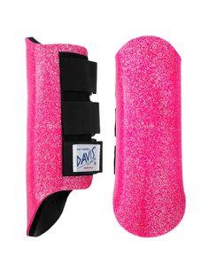 Davis splint jumping boots in metallic hot pink glitter. $39.90 + postage.    Horse Feathers Saddlery: horsefeatherssaddlery@gmail.com