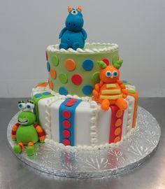 3 little monsters birthday cake
