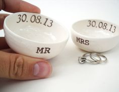 set of 2, MR MRS WEDDING ring pillow ring dish ring holder custom wedding date personalized names for his hers ring ceremony wedding gift on Etsy, $36.00