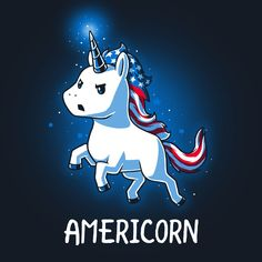 Freedom is magical! Get the navy blue Americorn t-shirt only at TeeTurtle! Exclusive graphic designs on super soft 100% cotton tees.