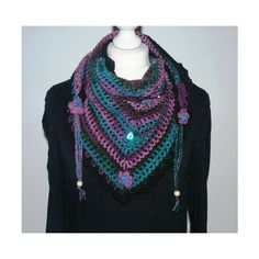 Crochet Scarf, Triangle crochet Scarf, Boho crochet Scarf (18 CAD) ❤ liked on Polyvore featuring accessories and scarves
