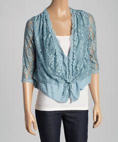 Another great find on #zulily! Aqua Lace Linen-Blend Cardigan #zulilyfinds