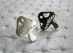 Little Mushroom Stud Earrings  Sterling Silver by pippoko on Etsy, $25.00