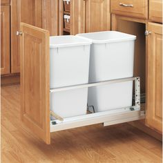 Rev-A-Shelf in. D Double 35 Qt. Pull-Out Brushed Aluminum and White Waste Container - - The Home Depot 84020349285435792 Kitchen Base Cabinets, Kitchen Cabinet Pulls, Kitchen Cabinet Design, Kitchen Redo, Home Decor Kitchen, Kitchen Remodel, Kitchen Ideas, Kitchen Furniture, Kitchen Corner Cupboard