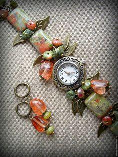 Часы ручной работы. Ярмарка Мастеров - ручная работа. Купить Часы (+подарок) Уходящее лето. Handmade. Зеленый, часы-браслет