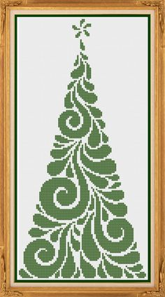 Modern Christmas Tree Counted Cross Stitch by HornswoggleStore Cross Stitch Tree, Cross Stitch Needles, Cross Stitch Fabric, Cross Stitch Alphabet, Counted Cross Stitch Patterns, Cross Stitch Designs, Cross Stitching, Cross Stitch Embroidery, Embroidery Patterns