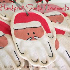 Hand Print Santa Ornaments-Make these salt dough ornaments with your kids to capture they're little hand print for years to come.