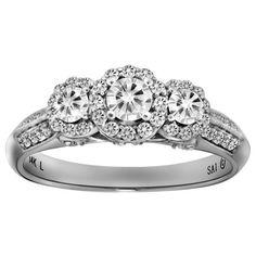 14k White Gold 3/4 cttw Diamond 3-Stone Past Present Future Ring, Size 7 $1105