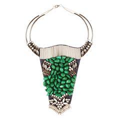 Parme Marin - Plastron Buffle en cuir, perle de verre, tube en métal et éléments anciens