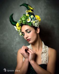 Be a Spring goddess in this horned headdress!Made with soft, slightly positionable horns that are wrapped in raw silk, the headpiece then has many beautiful flowers in greens, whites and yellows, and its finished with a couple of little butterflies that flutter lightly in the windThis comes on a secure headdress base with an elasticated back for comfortThese are made to order, please allow 2-3 weeks for it to be made. Flowers may vary slightlyPhotography-Carmen Clarke ...