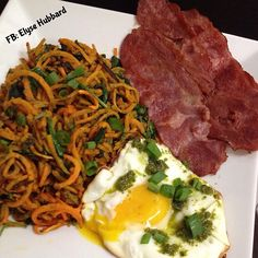 Breakfast was great!✨ More spoodles (spiraled sweet potato) with chopped spinach, and pesto, apple gate turkey bacon, and a fried egg with more yummy pesto!  Today is my hubby's day off so family day and errands for this gal! ❤️ I hope everyone is having a wonderful day https://www.facebook.com/TeamJERF