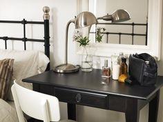 The LEKSVIK desk makes a stylish little bedside vanity.