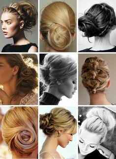Various hair up do for our beautiful brides, hundreds of matching tiaras and hair pins for these styles !    some of my favorite buns