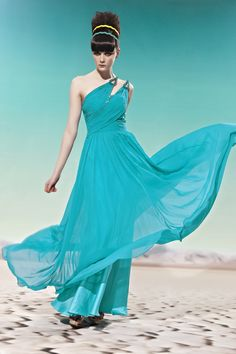 Light Teal One Shoulder Prom Cocktail Ball Party Long Formal Evening Dress