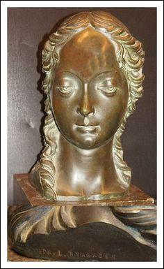Scultura in fusione bronzo busto firmato Antiquariato su Arsantik